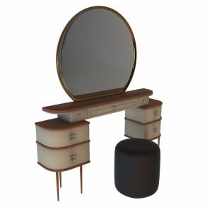 مدل سه بعدی میز آرایش شامل میز،آینه وصندلی