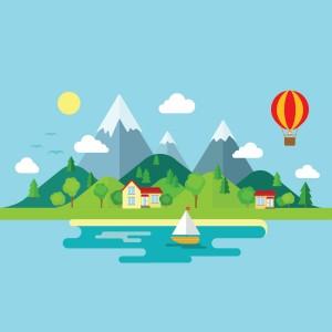لایه باز جزیره،قایق،کوه،بالن