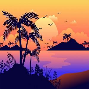 لایه باز غروب آفتاب در جزیره