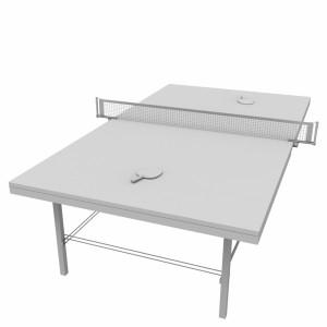 مدل سه بعدی میز پینگ پنگ و راکت پینگ پنگ