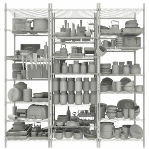 مدل سه بعدی انوع لوازم آشپزخانه و پذیرایی