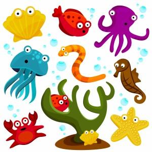 لایه باز مدل دو بعدی حیوانات دریایی