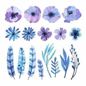 گل و پر آبی