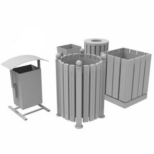 مدل سه بعدی سطل زباله پارکی