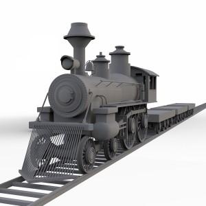مدل سه بعدی قطار باری قدیمی همراه با جزئیات