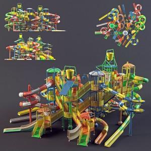 مدل سه بعدی پارک آبی با تمام امکانات