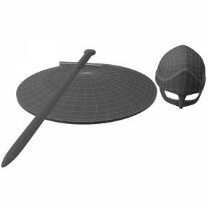 مدل سه بعدی کلاه خود و سپر و شمشیر جنگی