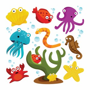 لایه باز آبزیان دریایی شامل:هشت پا،ماهی و صدف