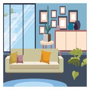 لایه باز آقاق نشیمن شامل:پنجره،مبل،کمد و گلدان