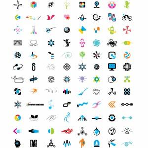 لایه باز مجموعه لوگوها نمادهای مختلف
