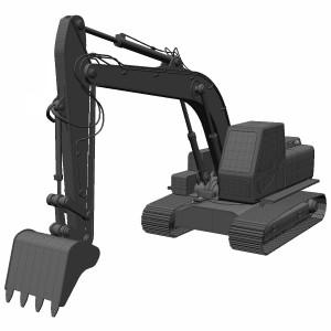 مدل سه بعدی بیل مکانیکی زنجیری