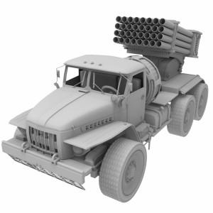 مدل سه بعدی موشک کاتیوشا به همراه خودرو