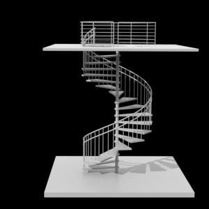 مدل سه بعدی پله مارپیچ