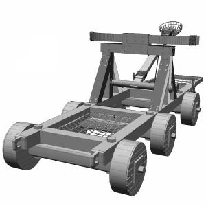 مدل سه بعدی منجنیق متحرک جنگی قدیمی (سنگ انداز)