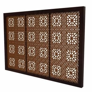 مدل سه بعدی پنجره مشبک چوبی قدیمی