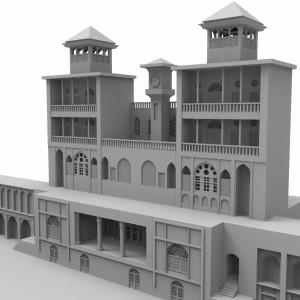 مدل سه بعدی عمارت شمسالعماره نمای جلویی